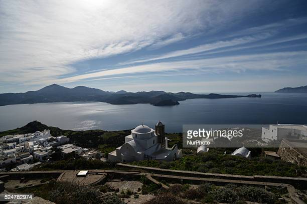Skyline of Plaka Village on Milos on February 22 2016