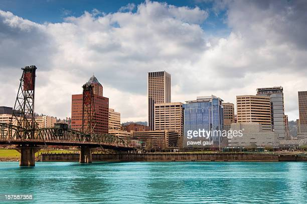 skyline of portland by day - willamette river stock photos and pictures