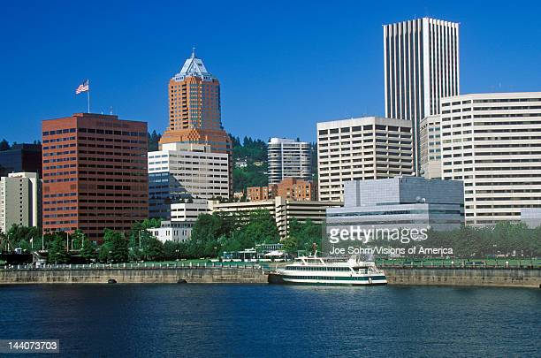 Skyline of Portland from the Willamette River OR in morning