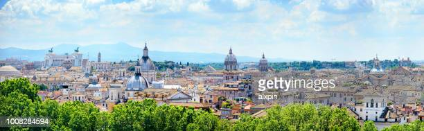 skyline of rome at sunny day - orizzonte urbano foto e immagini stock