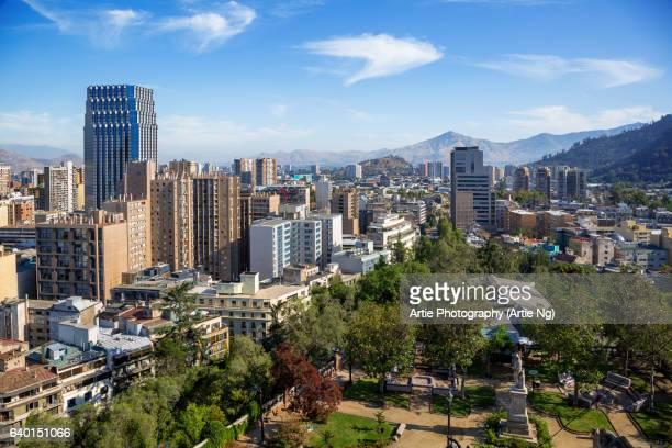 Skyline of Santiago City From Santa Lucia Hill, Santiago, Chile