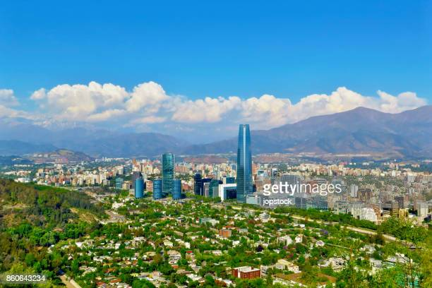 skyline of santiago de chile - chile stock pictures, royalty-free photos & images