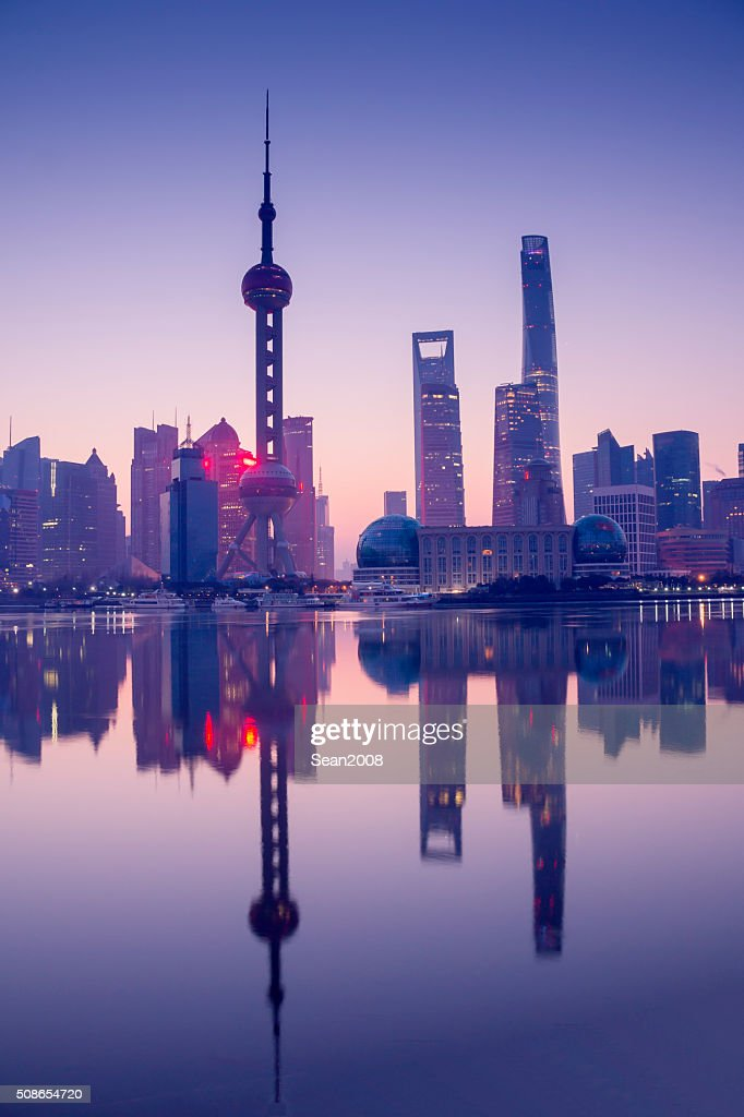 Skyline of shanghai at dawn : Stock Photo