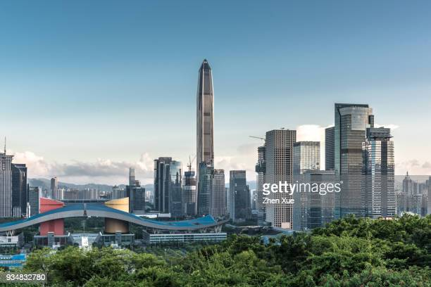 skyline of shenzhen - shenzhen stock pictures, royalty-free photos & images