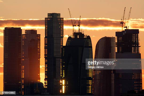 Skyline of silhouettes of Moscow International Business Center