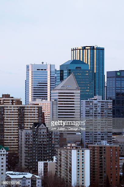 Skyline of skyscrapers and high rise buildings in downtown edmonton