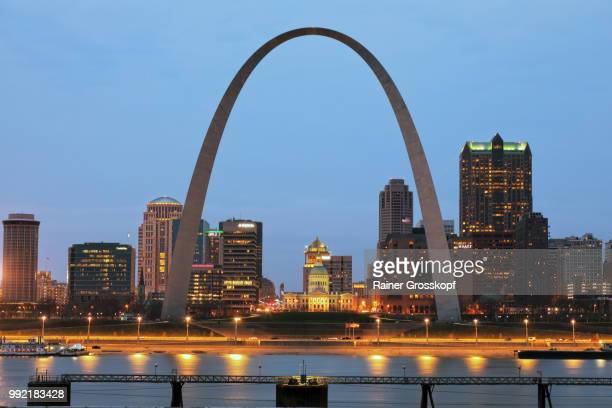 Skyline of St. Louis with Gateway Arch at night