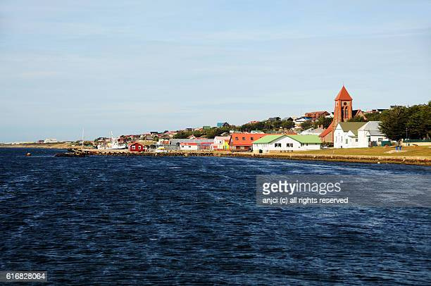 skyline of stanley / falkland islands - port stanley falkland islands stock photos and pictures