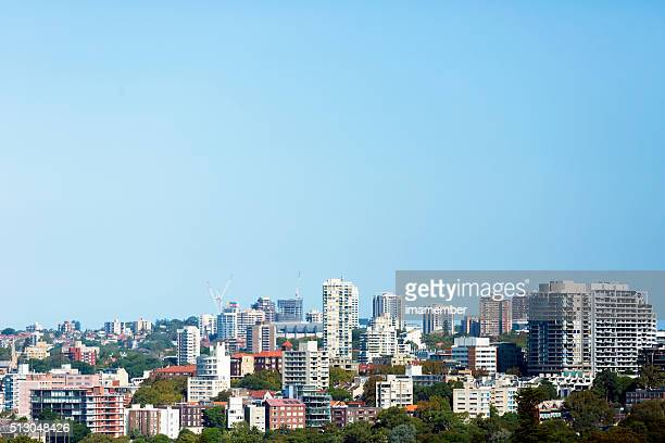 Skyline of Sydney Australia against blue sky, copy space
