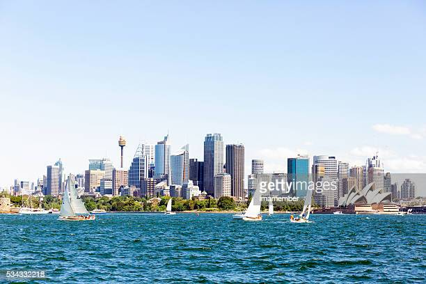 Skyline of Sydney Australia view from water, copy space