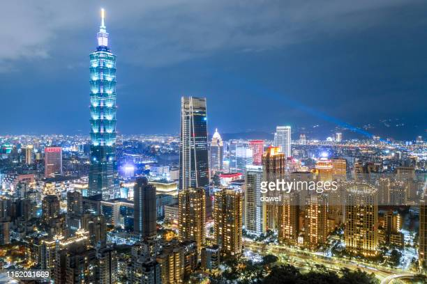 skyline of taipei at night - taiwan stock pictures, royalty-free photos & images