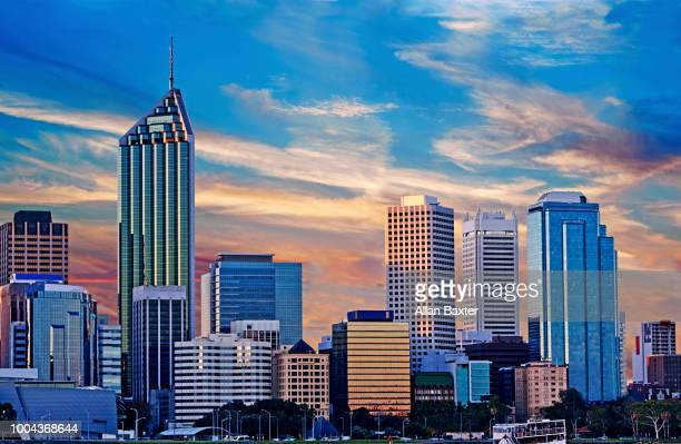 Skyline of the business distrcit of Perth at dusk