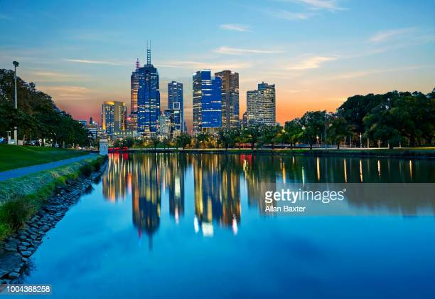 Skyline of the business district of Melbourne illuminated at dusk