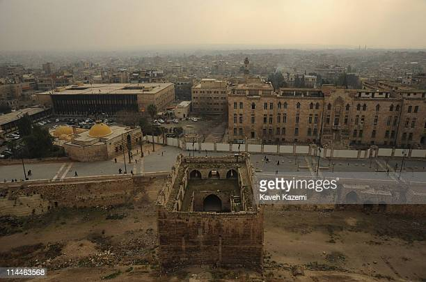 Skyline of the city seen from the inner grounds of Citadel in the centre of the old city of Aleppo on January 06 2011 in northern Syria The Citadel...