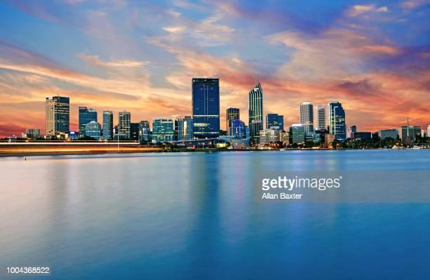 Skyline of the cityscape of Perth illuminated at dusk