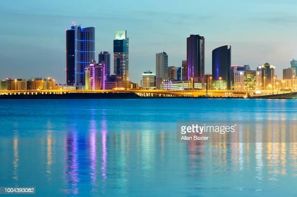 Skyline of the diplomatic quarter of Manama at twilight