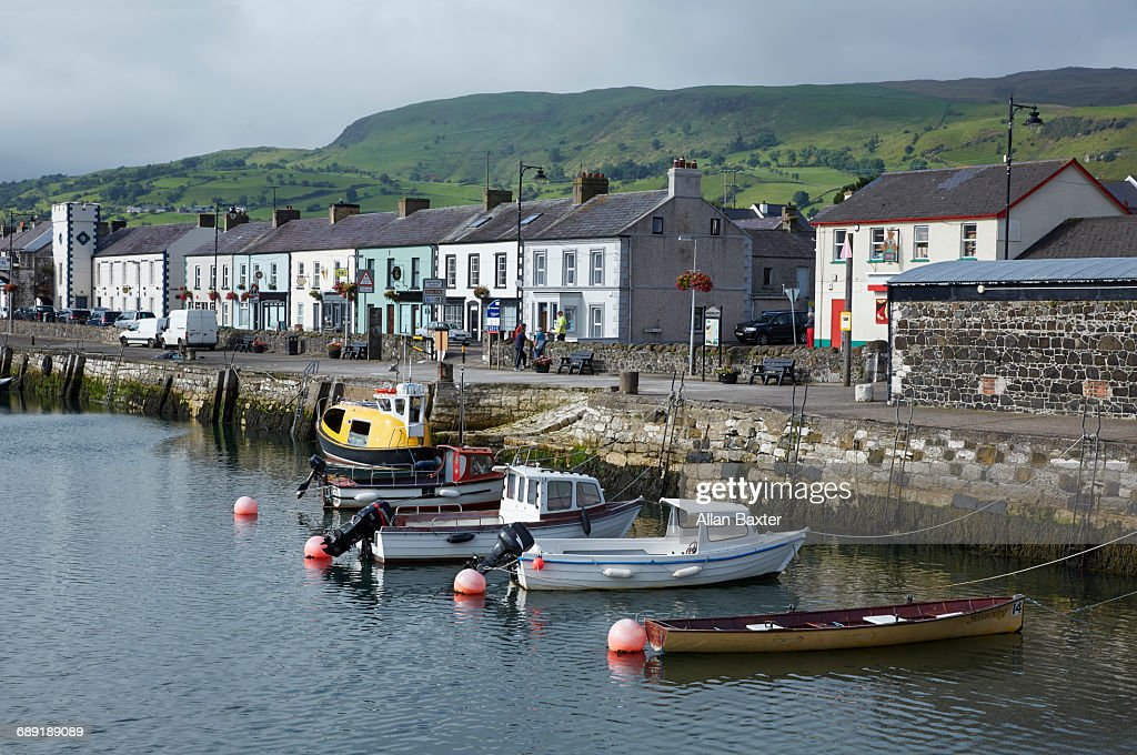 Skyline of the fishing village of Carnlough : Stock Photo
