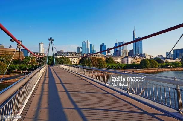 Skyline of the Holbienstag footbridge and skyline of Frankfurt