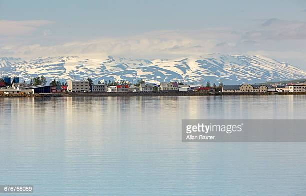 Skyline of the Icelandic village of Akureyri