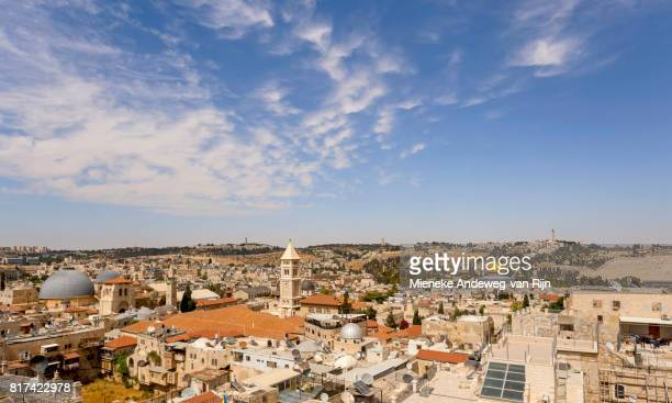Skyline of the Old City in Jerusalem, Israel, from The Tower of David, a.k.a. the Jerusalem Citadel, an ancient citadel located near the Jaffa Gate.