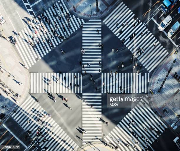 skyline of tokyo, japan - overhead view of traffic on city street tokyo japan stock photos and pictures