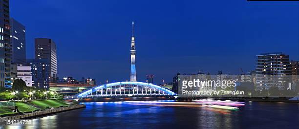 skyline of tokyo sky tree and eitai bridge - 永代橋 ストックフォトと画像