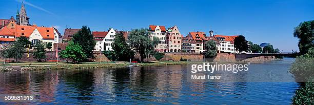 skyline of ulm and the river danube - ulm stock pictures, royalty-free photos & images