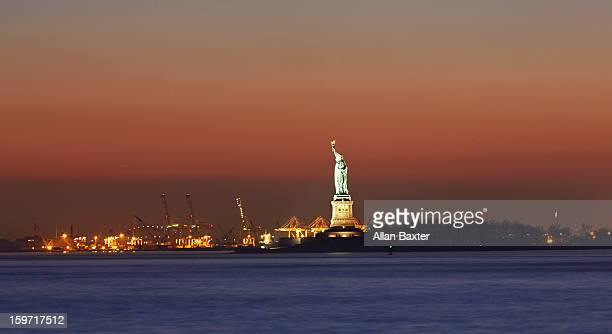 Skyline of Upper Bay and Statue of Liberty