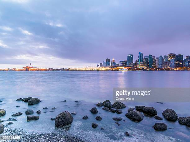 skyline of vancouver in sunrise - 2015 stock pictures, royalty-free photos & images