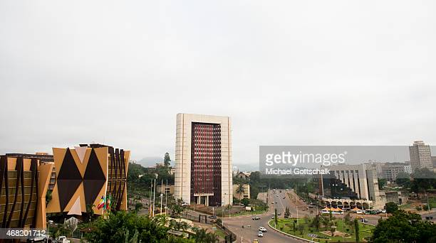 Skyline of Yaounde Capital of Cameroon on March 13 2015 in Yaounde Cameroon