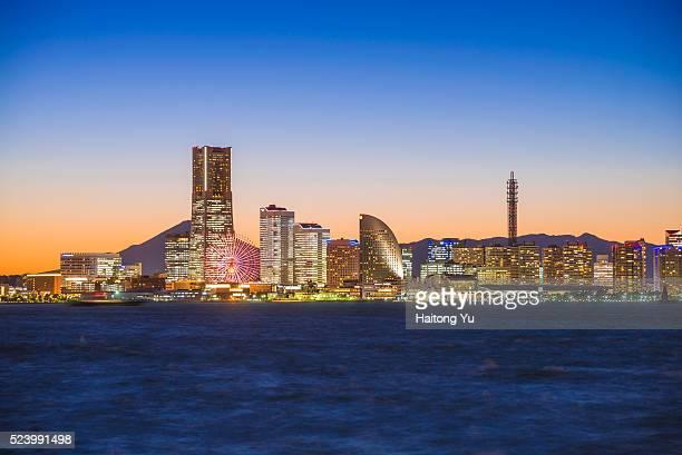 Skyline of Yokohama at twilight