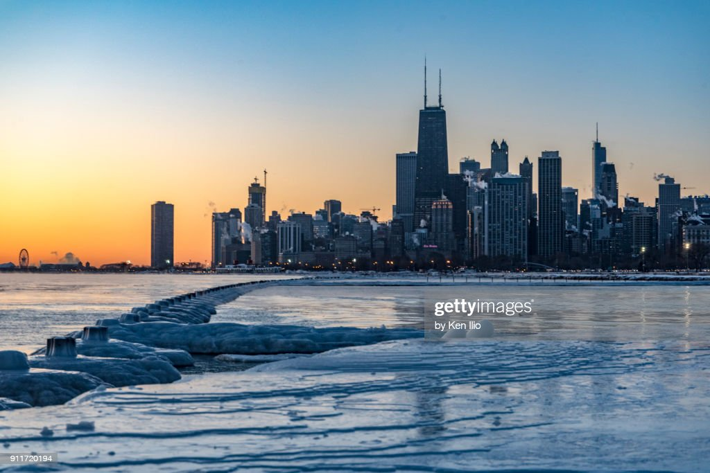 Skyline on frozen lake : Stock Photo