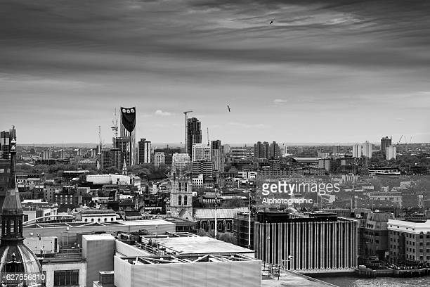 skyline over london towards the south west - monument station london stock photos and pictures