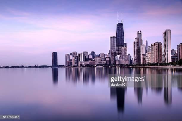 Skyline seen from North Avenue Beach, Chicago, Illinois, USA