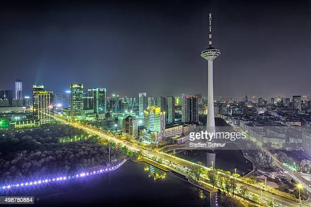skyline shenyang metropolis modern overview elevated view china - nacht stock pictures, royalty-free photos & images