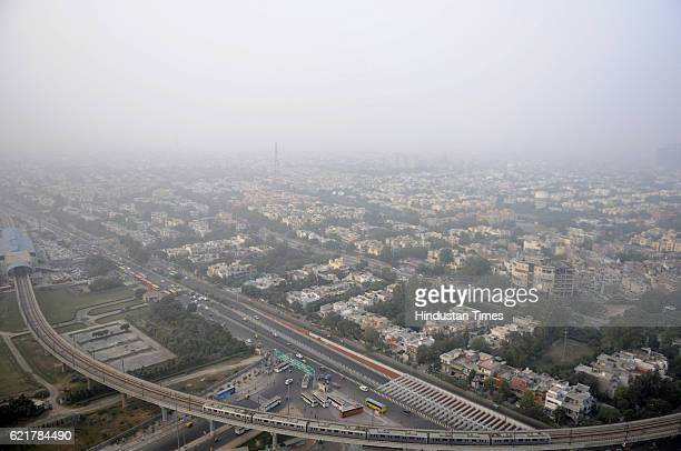 Skyline shows Smog engulf the city on November 8 2016 in Noida India Though the pollution level remains severe it has slightly declined Noida with...