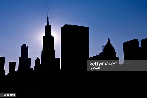 skyline silhouette - ken ilio stock photos and pictures