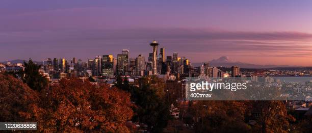 skyline sunset - north pacific stock pictures, royalty-free photos & images
