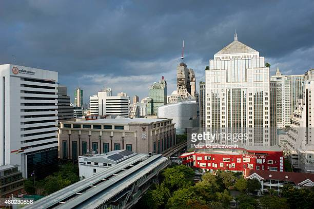 A skyline view of Bangkok featuring the new Central Embassy building the Central Group's latest offering into the already crowded Bangkok retail...