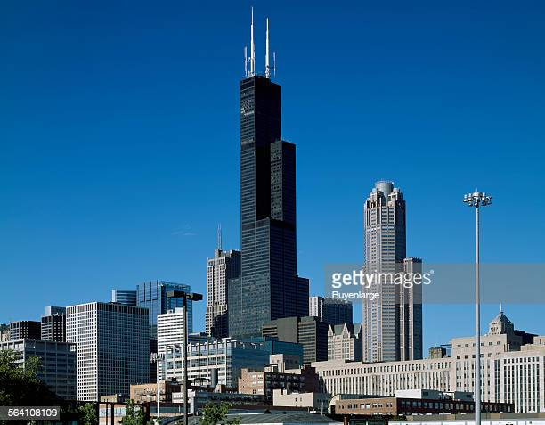 Skyline view of Chicago Illinois dominated by Willis Tower long known as Sears Tower