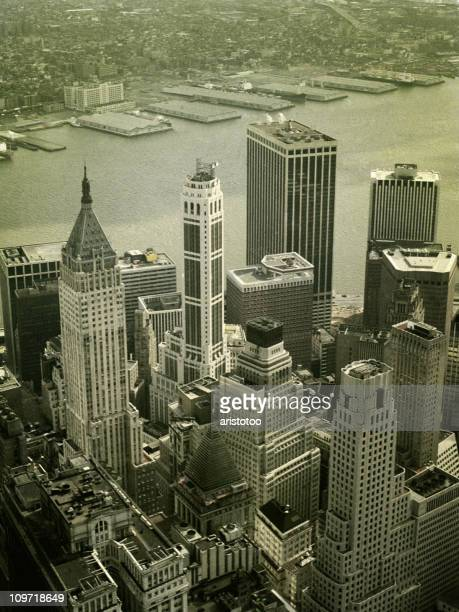 skyline view of financial district from world trade center - vintage stock stock pictures, royalty-free photos & images