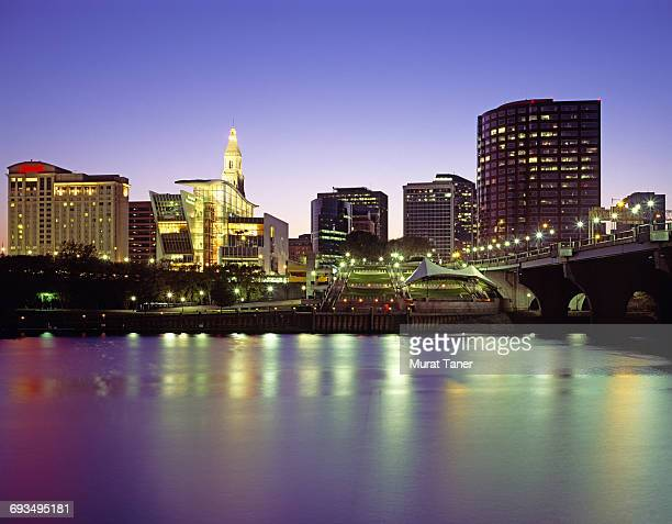 skyline view of hartford - hartford connecticut stock pictures, royalty-free photos & images