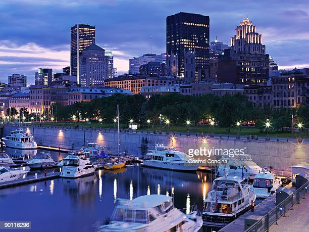 skyline view of montreal - place jacques cartier stock pictures, royalty-free photos & images