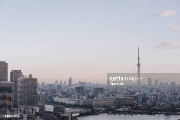 Skyline view of Tokyo Bay area with Tokyo Sky Tree