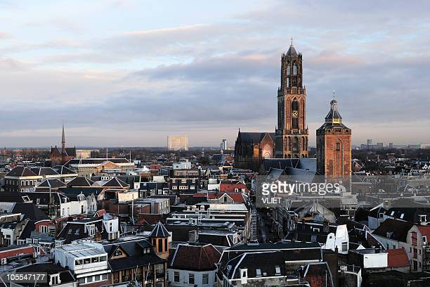 skyline view of utrecht in the netherlands - utrecht stockfoto's en -beelden
