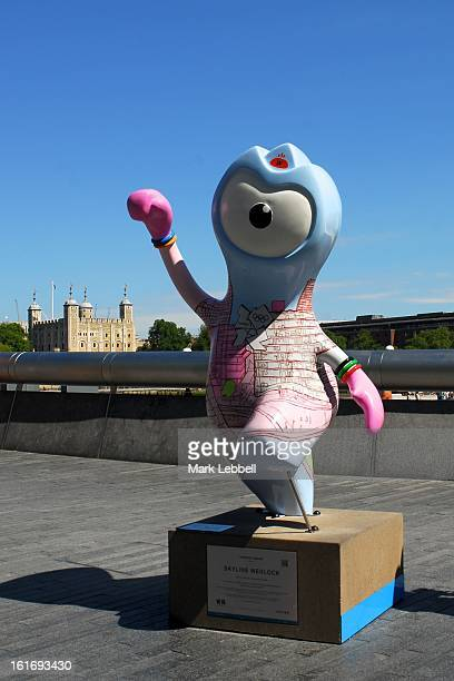 Skyline Wenlock, Olympic Mascot public art sculpture temporarily installed during the London Olympic and Paralympic Games 2012 outside City Hall,...