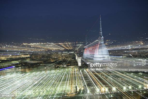 Skyline Winter Olympic Preview Scenic view and multiple exposure of La Mole Antonelliana and Turin Turin ITA