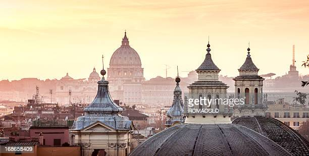 skyline with church cupolas, rome italy - roma stock photos and pictures
