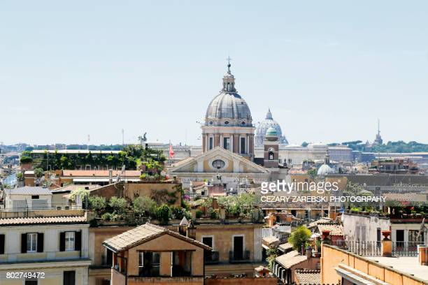 skyline with church cupolas, rome italy - pantheon rome stock photos and pictures