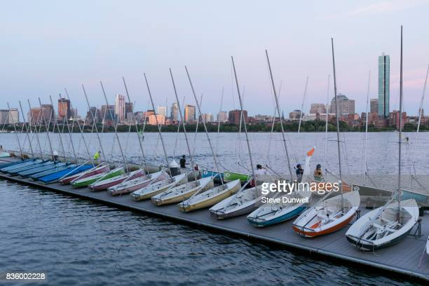 skyline with MIT sail boats dusk